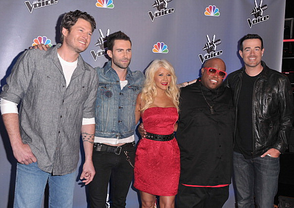 """NBC's """"The Voice"""" Blake Shelton,  Adam Levine, Christina Aguilera, Cee Lo Green, Carson Daly"""